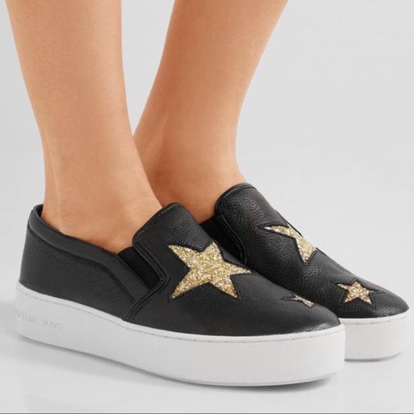e162a545e8cc9d MICHAEL Michael Kors Shoes | Michael Kors Black Pia Star Slip On ...